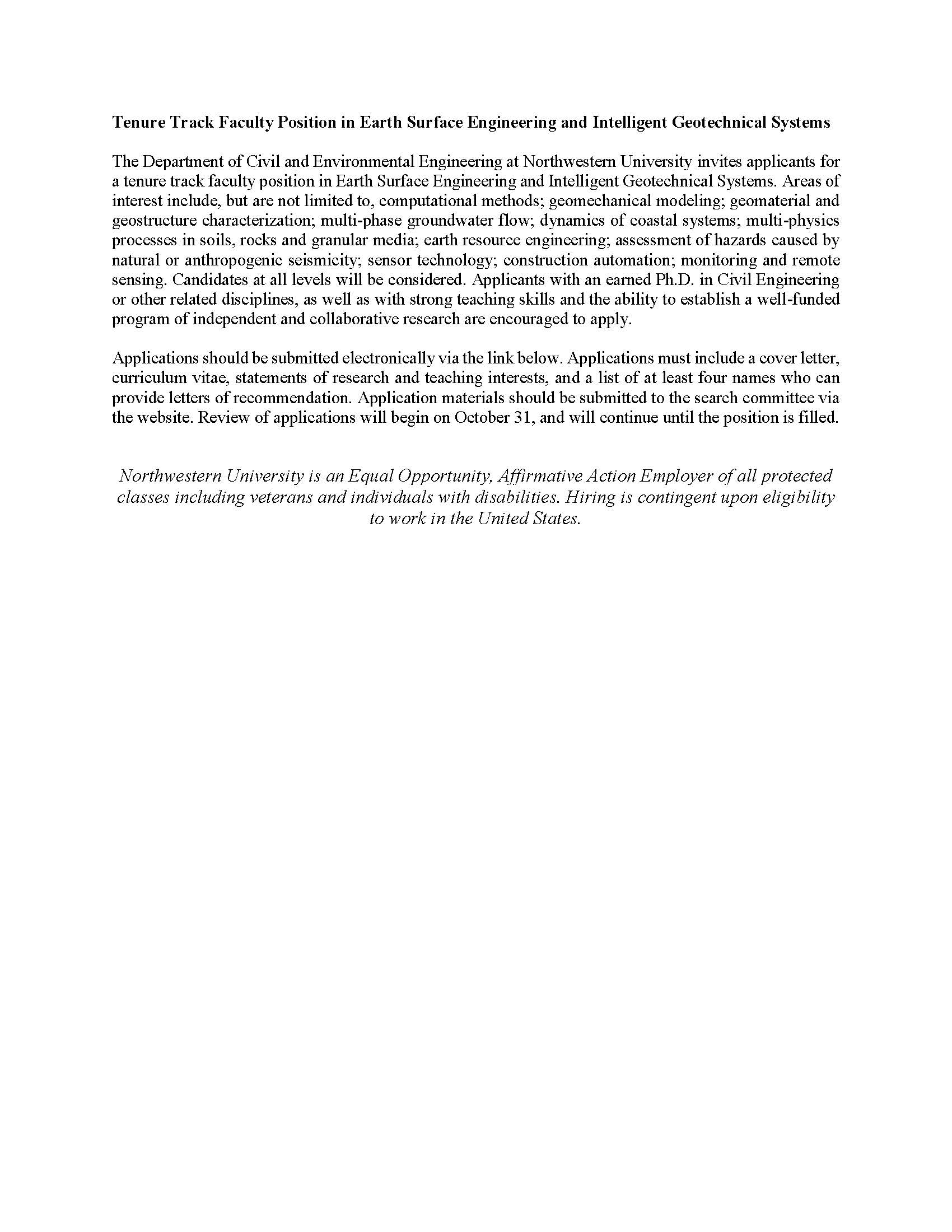 cover letter for faculty position in engineering Sample cover letter for an advertised faculty position sample cover letter for a business position and the re-engineering of the computer systems for my.