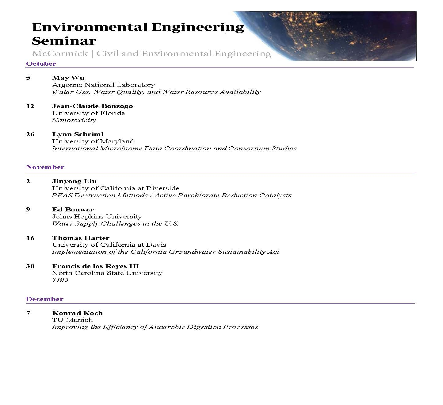 Department Seminars Events Civil Environmental Engineering