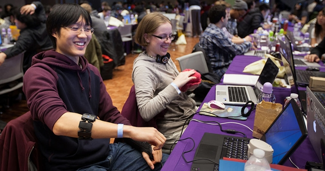 Students crowded into the Norris University Center to hack code and have fun at the second annual WildHacks event.