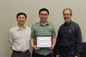 2015 EECS Best Dissertation in Electrical Engineering Award Winner Binnan Zhuang with Prof. Dongning Guo and Prof. Michael Honig