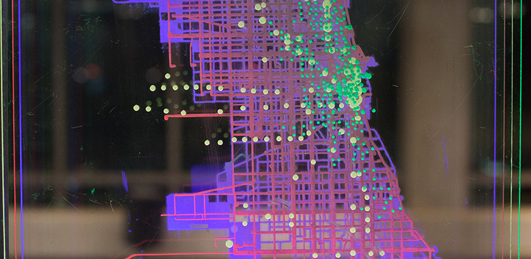 Students used city data to visualize movements and transportation methods of different socioeconomic statuses around the Chicago.