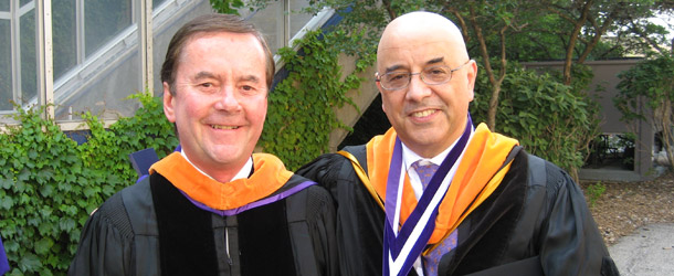 Image of Bob Taggart in 2008 with McCormick Dean Julio M. Ottino.