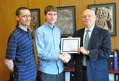 Associate Professor Lincoln Lauhon, Gotaas Award runner-up Aaron Holsteen, and Associate Dean Carr