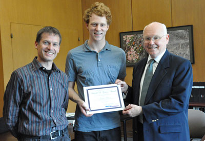 From left to right, Associate Professor Erik Luijten, 2012 Gotass Award winner Connor Eck, and Associate Dean Stephen Carr