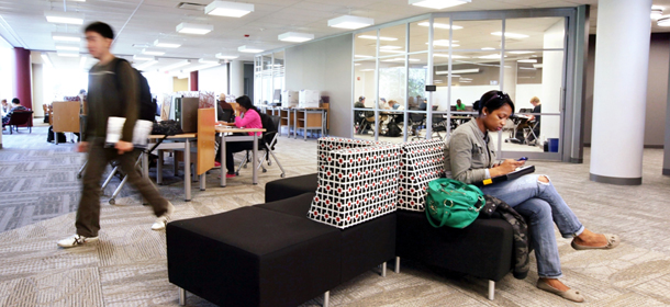 Students in the renovated Mudd Library