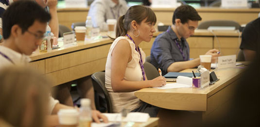 Graduate students learning business