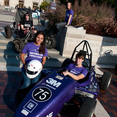 Members of the NU Solar Car student group