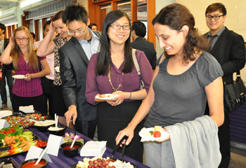 Students enjoy a reception for McCormick's inaugural MSiA class.