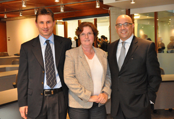 From left to right, Diego Klabjan, MSiA program director; Brenda Dietrich, an IBM fellow and vice president and chief technology officer for business analytics in the IBM Software Group; and McCormick Dean Julio M. Ottino