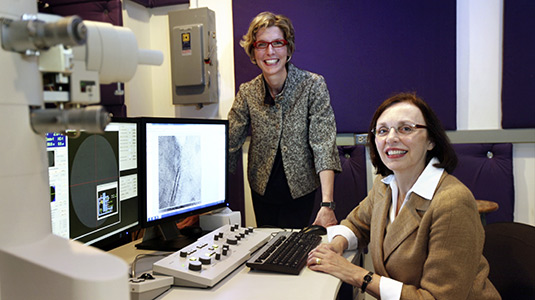 Katherine T. Faber (right), a Walter P. Murphy Professor in materials science and engineering at Northwestern, and Francesca Casadio, the Andrew W. Mellon Senior Conservation Scientist at the Art Institute of Chicago, will co-direct the new Center for Scientific Studies in the Arts.