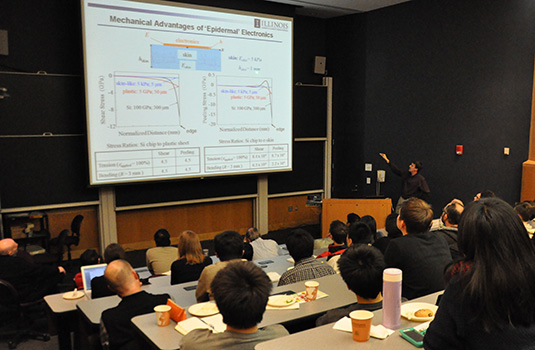 Students and faculty look on as John A. Rogers discusses dissolvable electronics as part of the McCormick Dean's Seminar Series January 31.