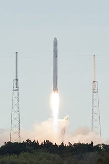 A SpaceX rocket lifts off from Cape Canaveral Air Force Station in Florida on March 1 carrying a Dragon capsule filled with cargo for the International Space Station. Photo credit: NASA/Tony Gray and Robert Murray
