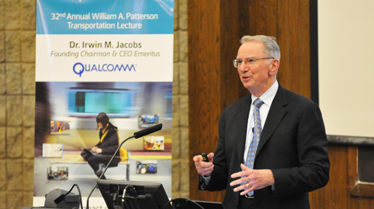 Irwin M. Jacobs delivers the 32nd annual William A. Patterson Transportation Lecture. Photo courtesy of Evanston Photo.