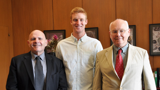 Samuel I. Stupp (at left), Julian Minuzzo, and Associate Dean for Undergraduate Engineering Stephen Carr
