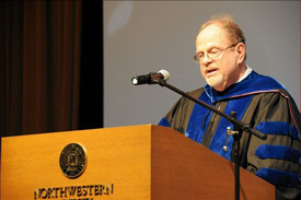 McCormick's Joseph Schofer delivers an address at the PhD Hooding Ceremony on June 21.