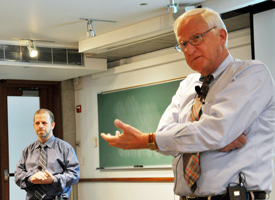 Michael Peshkin (left) and Gregory Olson (right) discuss their startups at the Farley Fellows lecture.