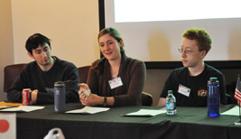 McCormick students share their experiences studying abroad. From left: John Boueri, Kate Piscopo, Andrew Rowberg