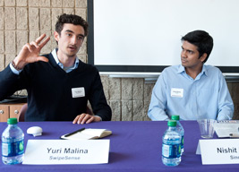 SwipeSense's Yuri Malina (left) and Sinode Systems' Nishit Mehta (right) at the 2013 Entrepreneur@NU conference.