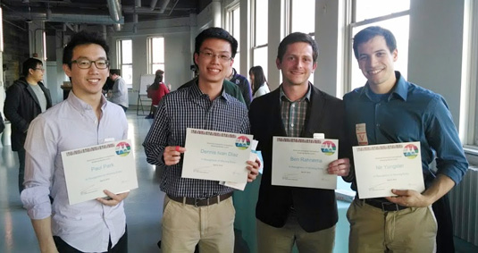 Members of the Motorola Competition's winning team (from left): Paul Park, Dennis Diaz, Ben Rahnema, and Nir Yungster.