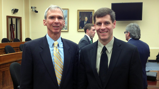 Mark Hersam (right) stands with Rep. Dan Lipinski (D-IL) ('88), a ranking member of the Subcommittee on Research and Technology.