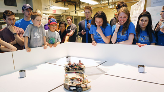 A robot competes in the 2013 Design Competition.