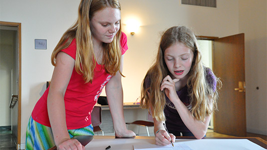 Two STEP participants collaborate on plans to build an automated feeder for the polar bear at Lincoln Park Zoo.