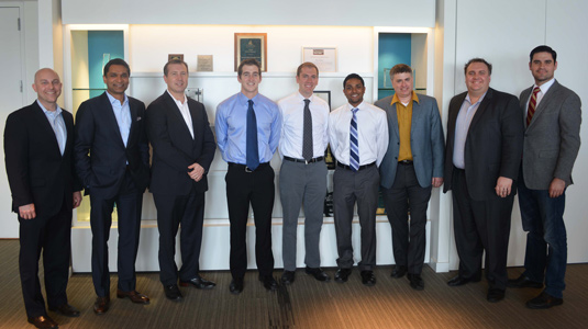 (left to right) Ben Rhodes and Shahid Ahmed of Accenture Communications; Charles Nebolsky of Cisco Business Group, McCormick graduate students Kyle Hundman, Andy Fox, and Monsu Mathew; Andy Fano of Accenture Technology' Josh Sommer of Accentures CMT network offerings group; and Tom Schenk, the City of Chicago's director of analytics.
