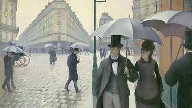 Cobalt blue, first invented in the Late Bronze Age, was rediscovered in 1802. Gustave Caillebotte. Paris Street; Rainy Day, 1877. Oil on canvas. The Art Institute of Chicago. Charles H. and Mary F. S. Worcester Collection.