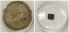 The image on the left shows the neat GO film, which disintegrated in water. The contaminated film on the right remains stable.