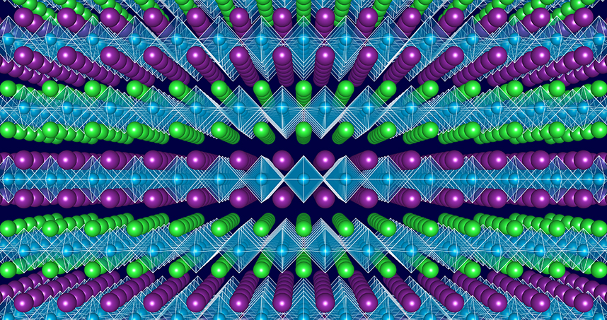 Atomic scale structure of 'designer' layered oxides: Band-gap engineering is enabled by varying the sequence of the well-defined layers, seen as planes of similarly colored (green and purple) atoms, in transition metal oxides without changing the materials overall chemical composition.