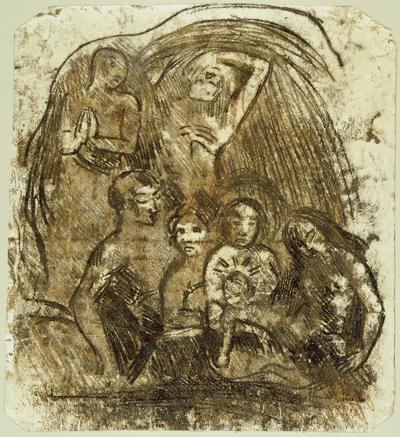 Paul Gauguin. Nativity (Mother and Child Surrounded by Five Figures), c. 1902. The Art Institute of Chicago. Gift of Robert Allerton.