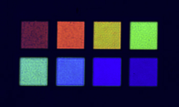 Photograph of colorful images fabricated using focused ion beam technique for patterning on the thin films with oxide thickness variation.