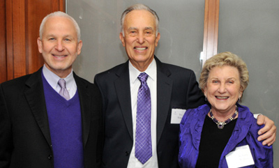 Northwestern President Morton Schapiro (left) with Ronald and JoAnne Willens