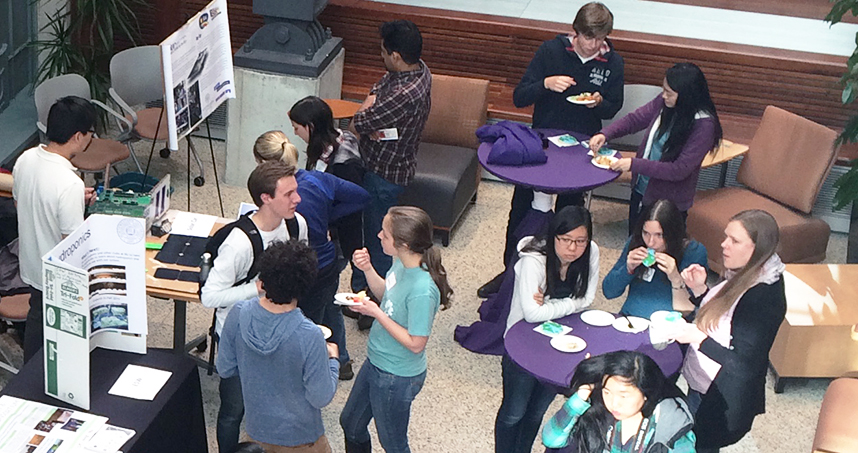 Students gathered in the Willens Wing Atrium to celebrate Earth Day.