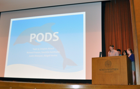 Team Dolphin Attack presents PODS, a unique approach to improving volunteer engagement at the Red Cross, during the IEMS 365: Analytics for Social Good Hackathon 2015.