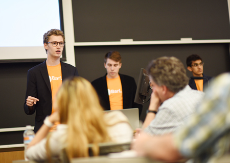 Members of BarLift pitch their app during the NUvention: Web + Media final presentations.