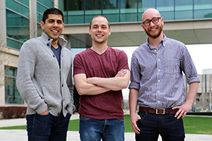 Tejas Shastry, Mike Geier, and Alex Smith, the co-creators of Ampy