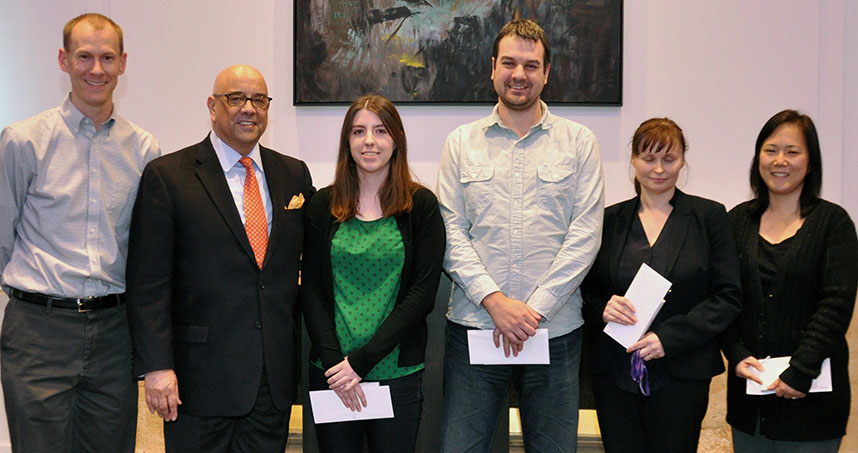 Honored for five years: Stephen Tilley, Danielle Aubry, Danny Bockenfeld, Agnes Kaminski, and Annie Lee.