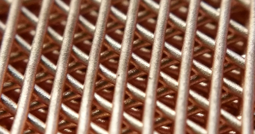 A copper lattice structure created with Northwestern Engineering's new 3-D printing process.