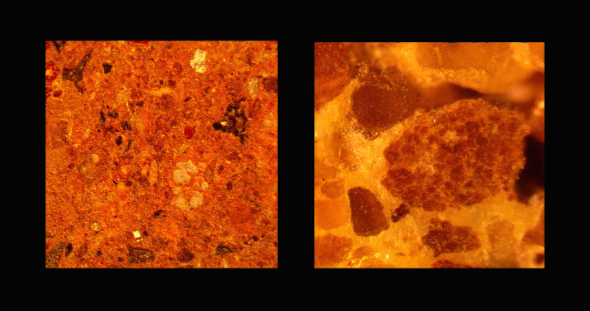 Microscopy images show how much smaller the particle sizes are in the Martian concrete (left) compared to the conventional sulfur concrete (right).
