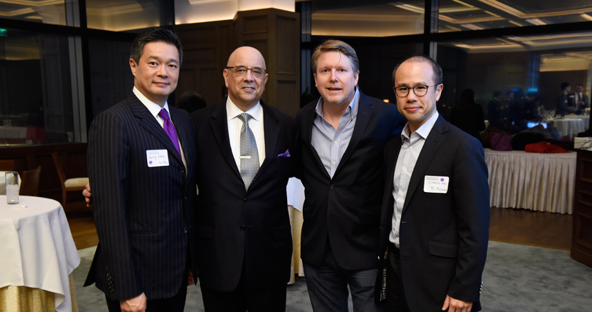 From left: Jerry Wang ('91), Dean Julio M. Ottino, Medill Dean Brad Hamm, Simon Ho ('95)
