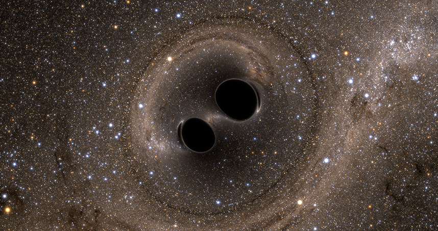 The detected gravitational waves came from the merging of two distant black holes.