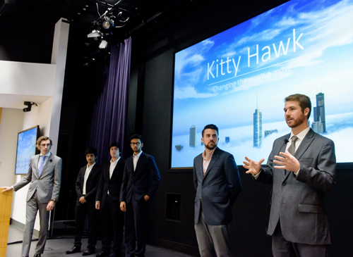 Members of Kitty Hawk discuss their plan to develop a self-piloting, electric air vehicle.