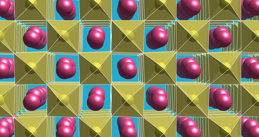 Atomic scale model of the polar material, where neodymium atoms are pink and nickel atoms are yellow.