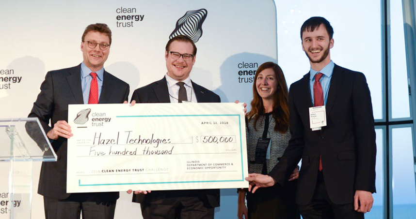 Hazel Technologies' Aidan Mouat and Adam Preslar with Clean Energy Trust CEO Erik Berkerts