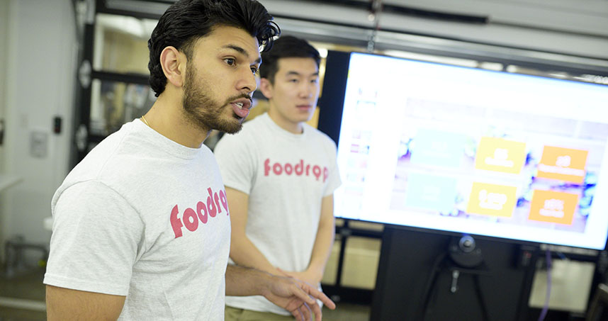 Kunal Dalvi pitches his company Foodrop at the NUvention: Web + Media final presentations.