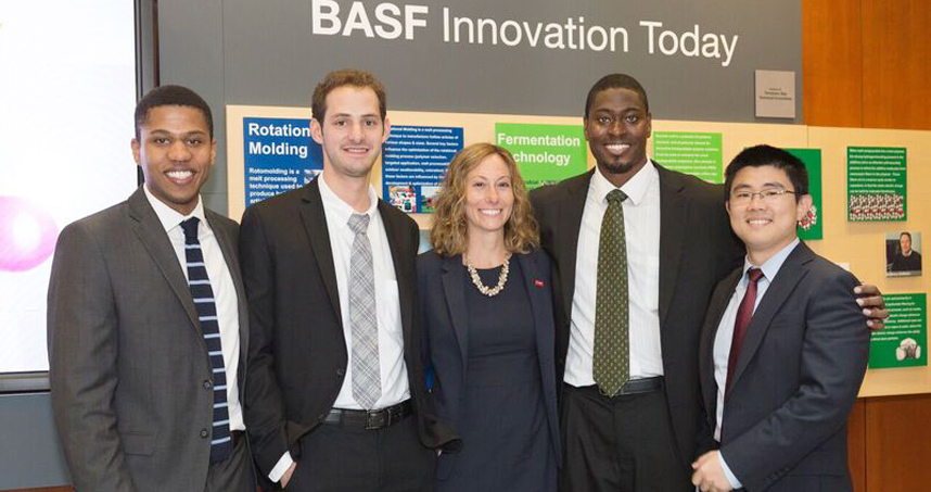 From left: Michael Desanker, Blake Johnson, Lauren Cafiero (BASF coach), David Pickens, and Jie Lu.