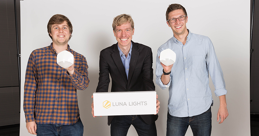 From left to right: Luna Lights team members Donovan Morrison, Stephen Jensen, and Matt Wilcox