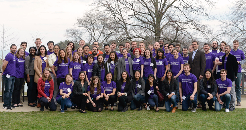 Northwestern's synthetic biology faculty pose for a group photo with their students and postdoctoral fellows.