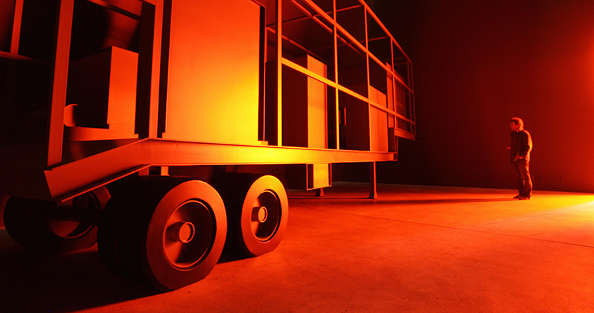 Manglano-Ovalle creates conceptual works, such as Phantom Truck, a reproduction of a mobile biological weapons lab.